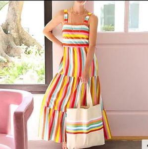 J. Crew Rainbow 🌈 Stripe Maxi Dress XS